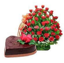 Basket of 40 red roses nicely decorated with 1 kg. Heart Shape chocolate truffle cake