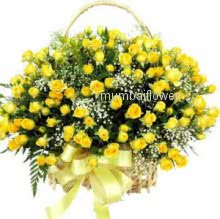 Basket of 70 Yellow roses nicely decorated with fillers and ribbons