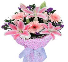 Bunch of pink flowers nicely decorated with fillers and ribbons