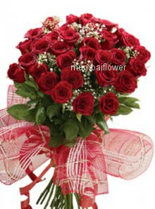 Bunch of 35 Red Roses nicely decorated with fillers and ribbons