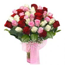Bunch of 40 red, pink and white roses nicely decorated with fillers and ribbons