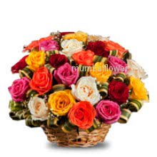 Basket of 40 Mixed roses nicely decorated with fillers and ribbons