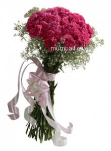Bunch of 25 Pink carnation nicely decorated with ribbons