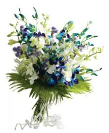 Bunch of 15 Blue and White Orchids nicely decorated with fillers and ribbons
