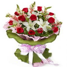 Bunch of 15 Red roses and 5 pc White lilies nicely decorated with ribbons
