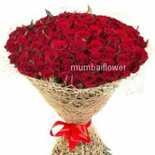 Bunch of 75 Red Roses nicely decorated with fillers and ribbons