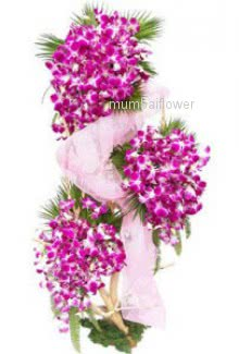 Tall Arrangement of 75 purple orchids nicely decorated with fillers and greens