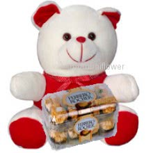 12 inch Teddy with 16pc Ferrero Rocher Chocolate