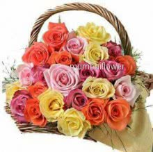 Basket of 25 Mixed colored roses nicely decorated with greens