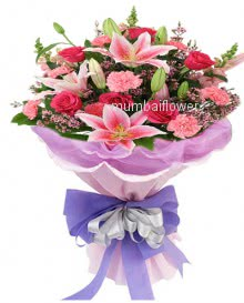 Bunch of Pink Combination nicely decorated with ribbons