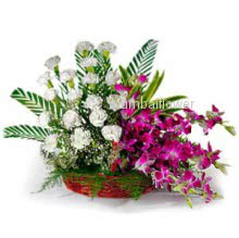 Basket Arrangement of 20 White carnation and 6 Purple orchids nicely decorated with greens
