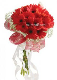 Bunch of 20 Red gerberas nicely decorated with ribbons