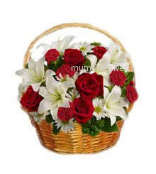 Bunch of 20 Red Roses and 5 pc White lilies nicely decorated with fillers and greens