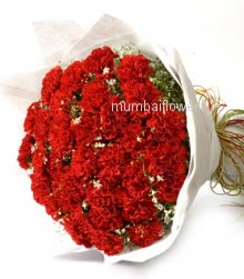 Bunch of 40 Red Carnation nicely decorated with ribbons