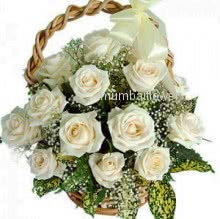 Basket of 15 White Roses nicely decorated with greens
