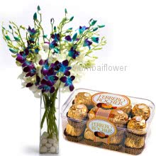 Bunch of 10 Blue Orchids nicely decorated with 16pc Ferrero Rocher Chocolate