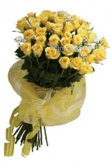 Bunch of 35 Yellow roses nicely decorated with fillers and ribbons