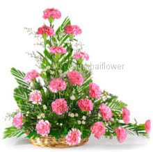 Arrangement of 20 Pink carnation nicely decorated with greens