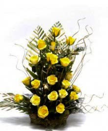 Arrangement of 25 Yellow roses nicely decorated with fillers and greens