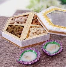 Diya Dry Fruits Hamper with Decorative Box of Mixed Dry Fruits and 2pc ready to use Wax Diyas. Contains  250gms of Mixed Dry Fruits, 2pc Decorative Diyas