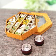 Decorative Box of  Mixed Mithai with 2pc Metalic Tealight Holder. This Combo Contains 400gms of mixed Mithai and 2pc Metalic Tealight Holder