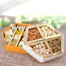 Dryfruits  and Mithai Combo with  Mixed Mithai in Decorative Box with Box of Mixed Dry Fruits. This Combo Contains 400gms of mixed Mithai, 250gms of Mixed Dryfruits
