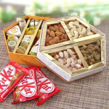 Delicious Diwali Combo of 400gms Mixed Mithai , 250gms Mixed Dryfruits and 3 Bars of Kitkat Chocolates