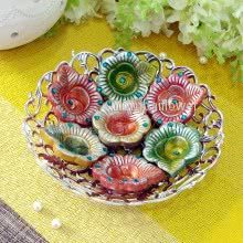 Decoartive Tray of Decorated Terracotta Clay Diya with 1pc Diwali Greeting Card.