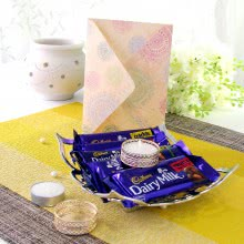 Combo of 2pc Golden Tealight Holder and 1 Silver color Tray of Mixed Bar Chcolates with 1 Diwali Greeting Card