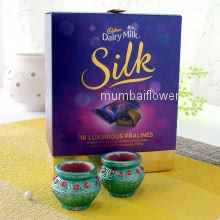 Luxurious Cadbury Dairymilk Silk Prunes Box with 2pc Diwali Decorative Diyas