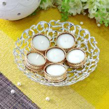 Diwali Diya Gifts of 6pc Designer Golden Metal Tealight Holder with 1 Silver color Tray