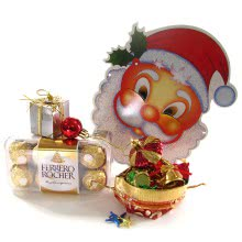 Christmas Gift box of Ferrero Rocher 16pc with 1pc  Santaclaus Paper Mask and 12pc Christmas Decorative Ornaments