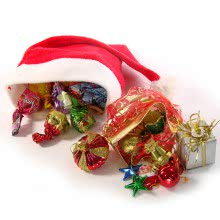 Santa Hat filled with 15pc Chocolate Prunes and 1pc Santa claus Hat with 12pc Christmas Decorative Gifts Ornaments