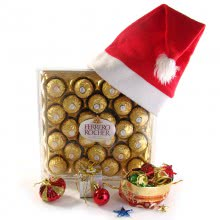 Christmas Gift with 24pc Ferrero Rocher Chcolates , 1pc Red Santa Claus Cap, and 12pc Christmas Decorative Ornaments
