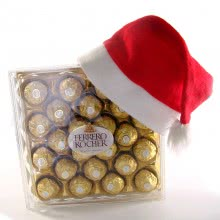Christmas Gifts of Santa Claus Red Hat with 24pc Ferrero Rocher Chocolates.