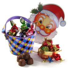 This Christmas Give Bucket of 25pc Chocolates Gifts with 1pc Santa Paper Mask and 12pc Christmas Tree Decorative Ornaments