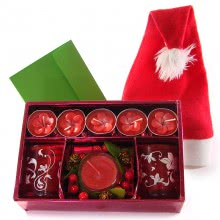 Decorative Tealight Candles Box with 1 pc Santa Claus Hat and personalized Message Card