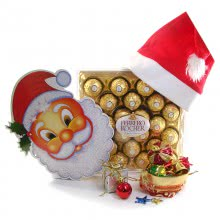 Christmas Santa Claus Hamper with 24pc Ferero Rocher Box with 1pc Santa Claus Paper Mask, 1pc Santa Cap and 12pc Christmas Decorative Ornaments
