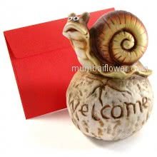 Showpiece of Welcome Snail can be sent with personalised message , also used as small baby money bank. <br><br> Size: 16cm x 11cm x 11cm