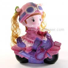 So Cute Gift Baby Girl Riding Bike with Big goggles, lovely. <br><br> Size: 22cm x 18cm x 7cm approximately.