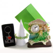Showpiece of Mother and Child with clock and 1pc Bracelet and I love Mom keychain with personalised message card. <br><br> Size: 13cm x 11cm x 6cm approximately.