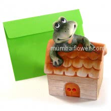 Gift for your loved ones, Smiling Frog house with personalised message card <br><br> Size: 13cm x 09cm x 08cm approximately.