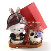 Pirate Bunny with Treasure Skull  with personalised message card  <br><br> Size: 18cm x 16cm x 08cm approximately.