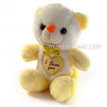 Soft Stuff Toy Yellow Color Teddy  <br><br> Size: 8 inch height approximately.