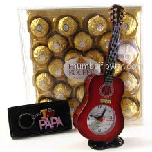 Combo of 24pc Fererro Rocher Box Gift pack , 1pc Desk Guitar clock small and 1pc I love   Papa keychain.  <br><br> Desk Clock Size: 23cm x 09cm x 04cm approximately.