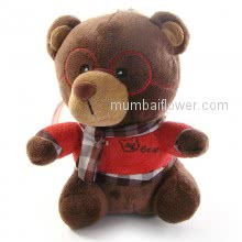 Small Cute Brown teddy wearing red top and Muffler, very cute  <br><br> Size: 18cm height approximately.