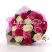Bouquet of 6 Red Gerberas 6 Pink Roses and 6 White Roses nicely packed with color Paper Packing
