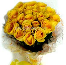 Bunch of 25 Yellow Roses with Plastic Cellophane packing