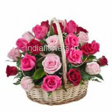 Basket of 30 Red and Pink Roses with fillers and greens