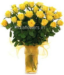 Glass vase with 30 Yellow roses with fillers and greens